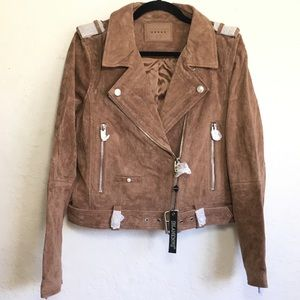 Blank NYC Suede Leather Belted Moto Jacket